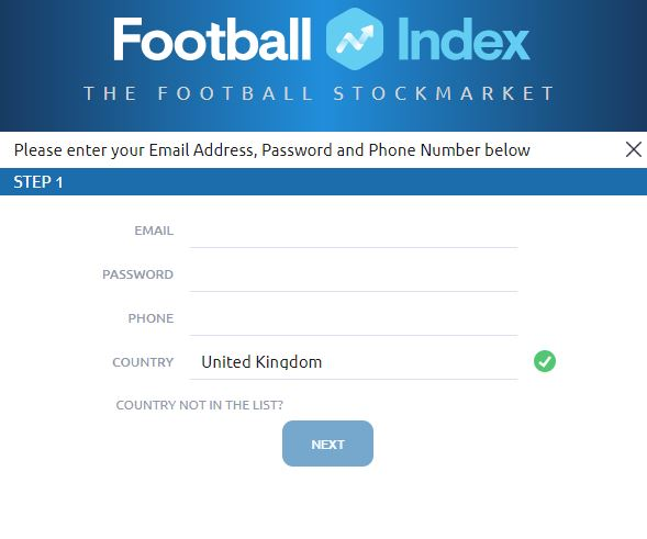 REGISTER WITH FOOTBALL INDEX